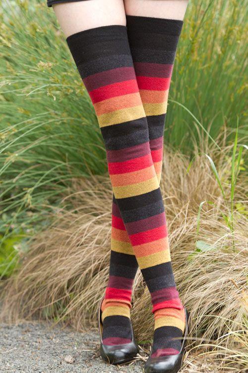 INFERNO - Extraordinarily Longer Elemental Stripes - Unique Sexy Colorful Socks - Sock Dreams