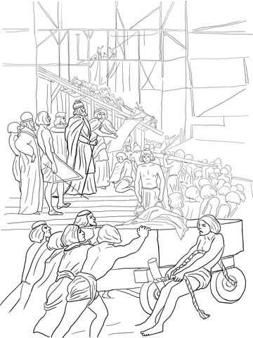 King Solomon Builds The Temple Coloring Page Bible Coloring