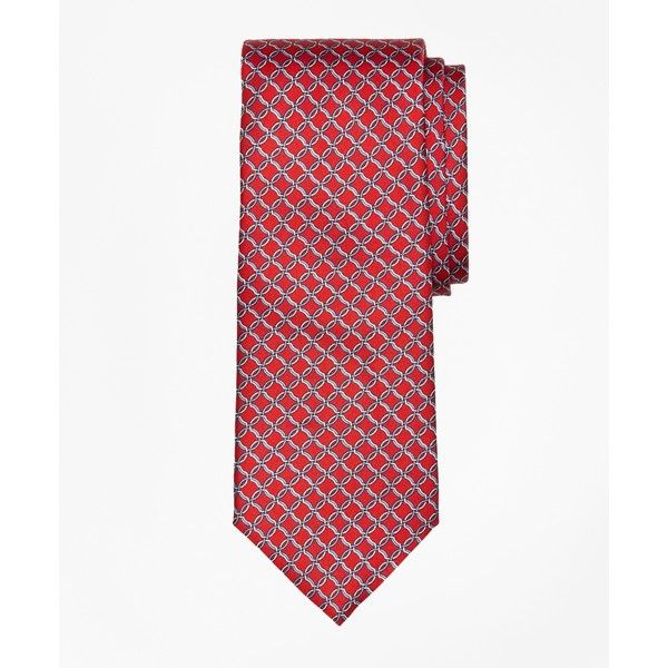 Brooks Brothers Open Link Print Tie (8630 RSD) ❤ liked on Polyvore featuring men's fashion, men's accessories, men's neckwear, ties and red