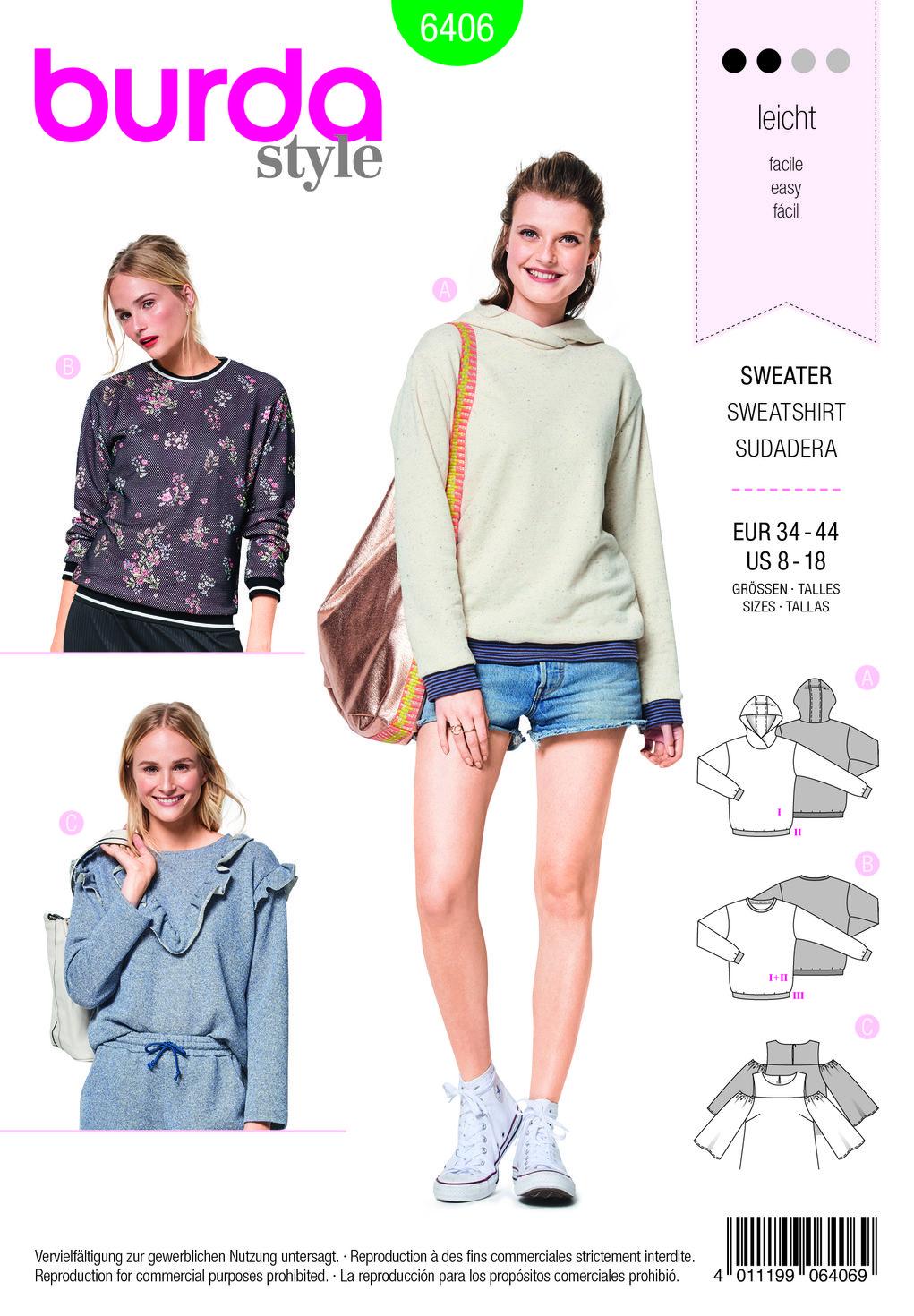 burda style, Schnittmuster, Pullover F/S 2018 #6406, Der lässige ...