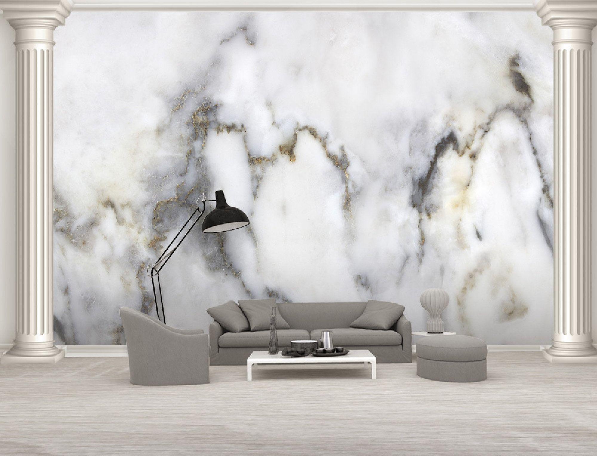 Marble Wallpaper Modern Beautiful Wall Mural For Living Room Etsy In 2020 Beautiful Wall Wall Murals Living Room Bedroom
