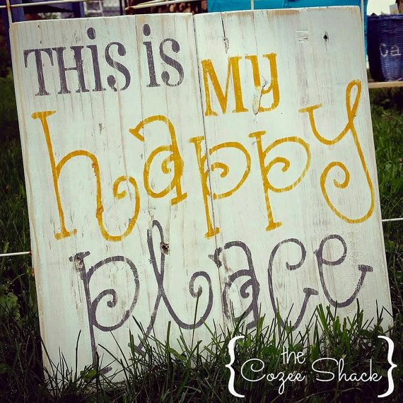 My Happy Place / reclaimed pallet sign / wood sign / rustic wood sign / home decor / rustic decor / distressed /