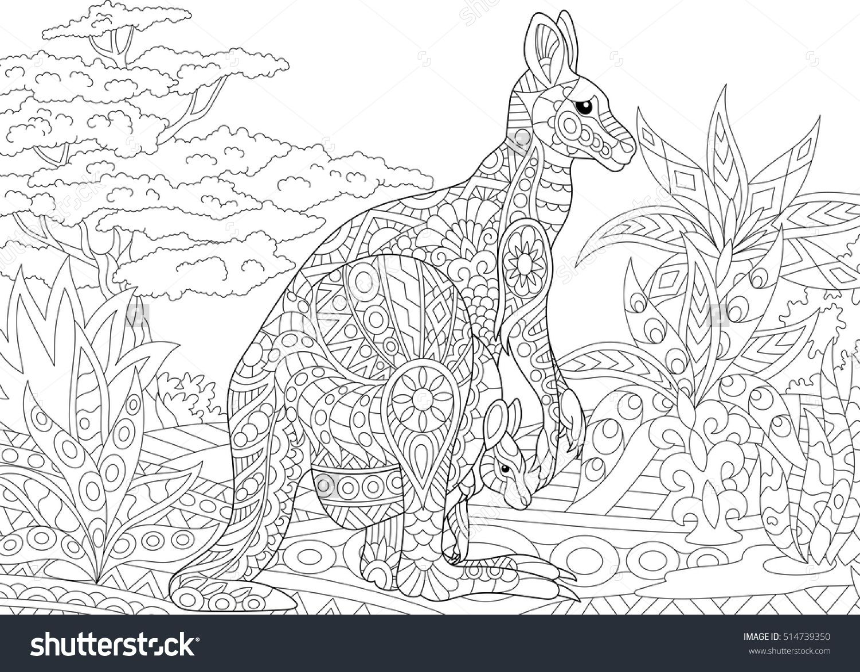 Stylized Australian Kangaroo Family