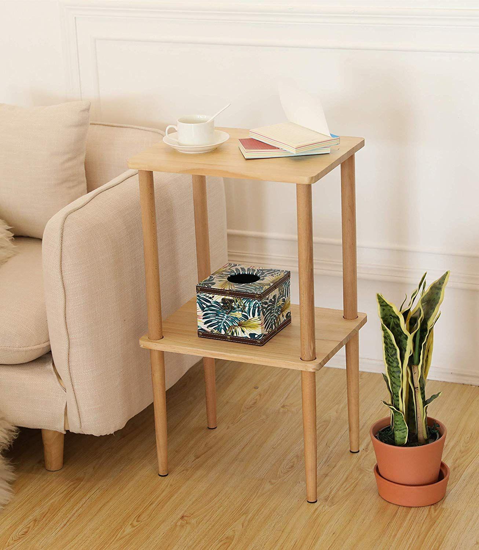Side Table Living Room Table Wood Nightstand Tall Side Table Living room side table