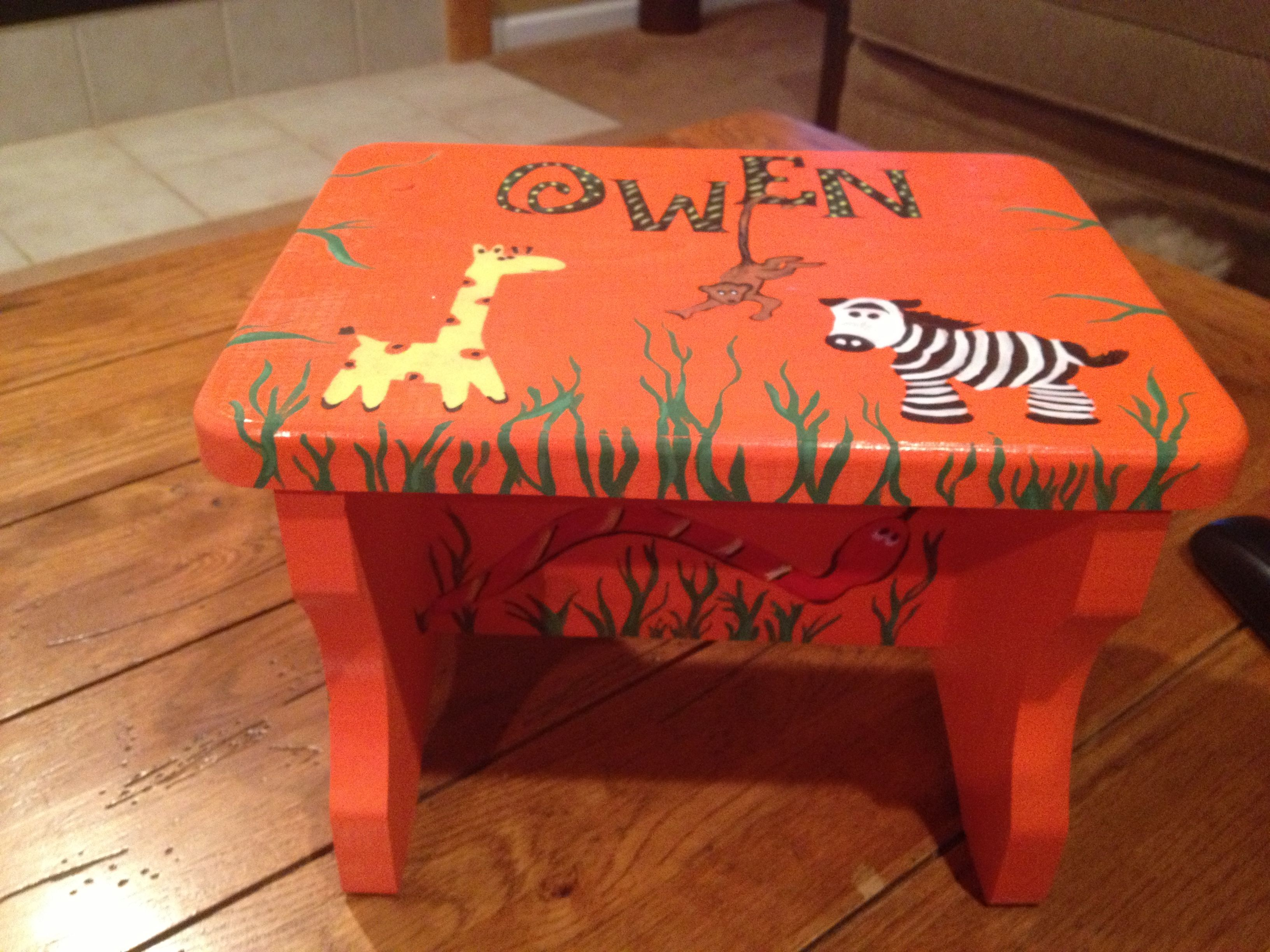 jungle themed furniture. Hand Painted Jungle Themed Stool Furniture