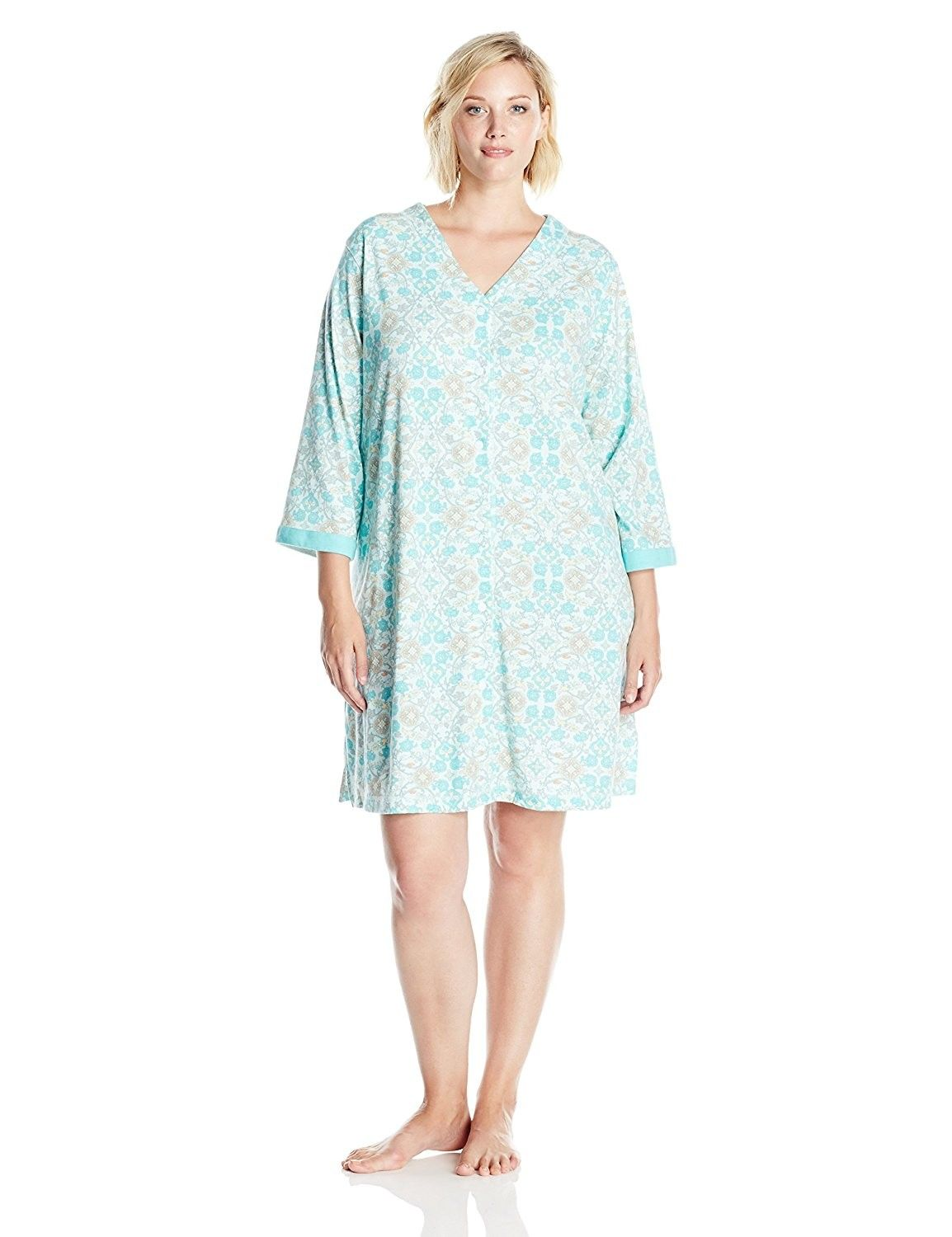 bce683ae7c8b Women s Plus Size Interlock Knit Short Snap Rob - Turquoise Floral ...