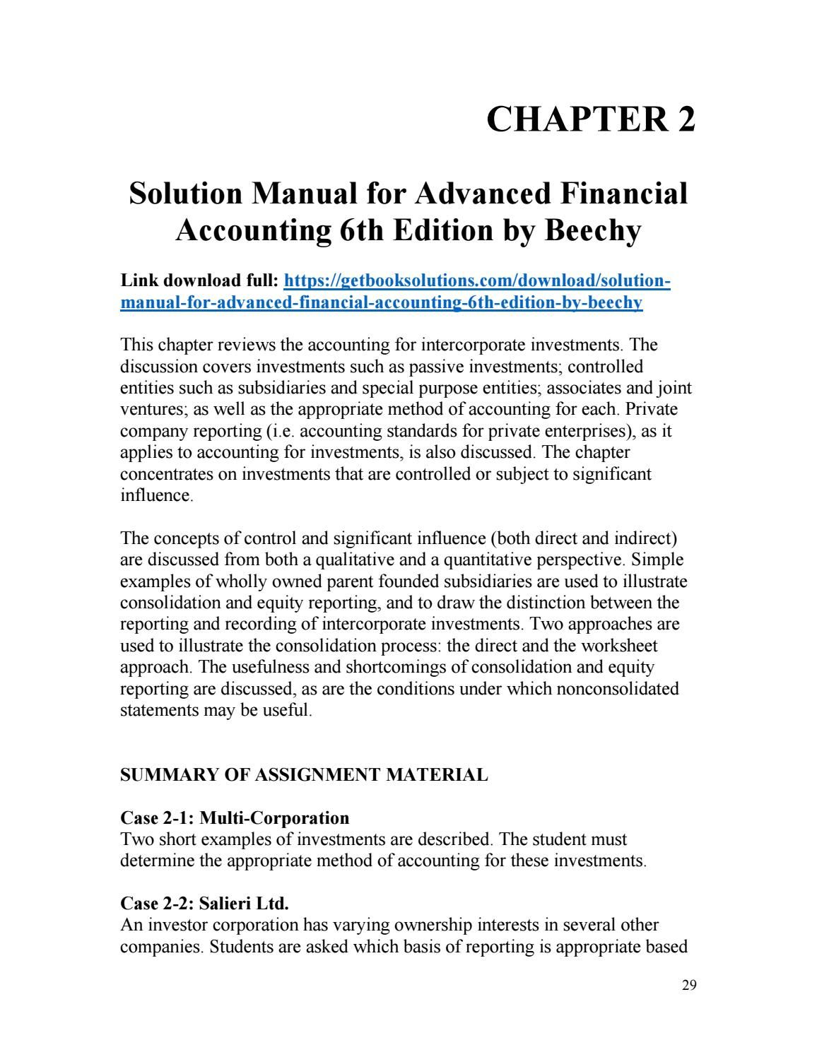 Download solution manual for advanced financial accounting 6th edition by  beechy