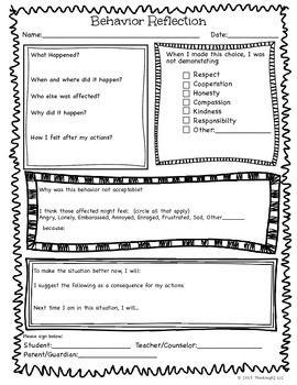 Behavior Reflection Think Sheet and Apology Letter Behavior