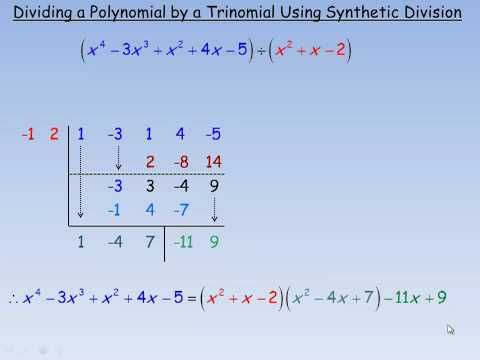 Dividing a Polynomial by a Trinomial Using Synthetic