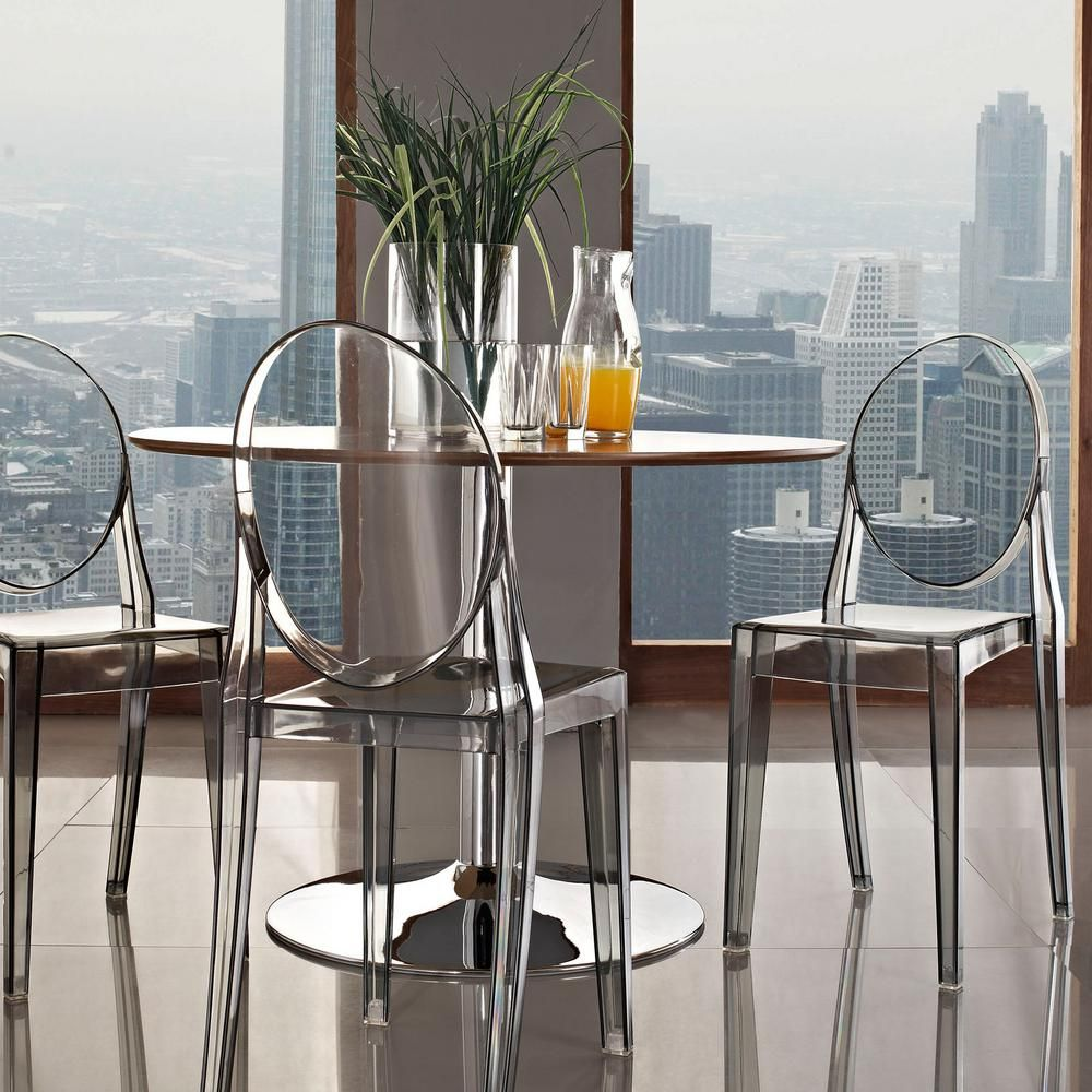 Modway Casper Clear Dining Side Chair Smoked Grey Dining Chairs