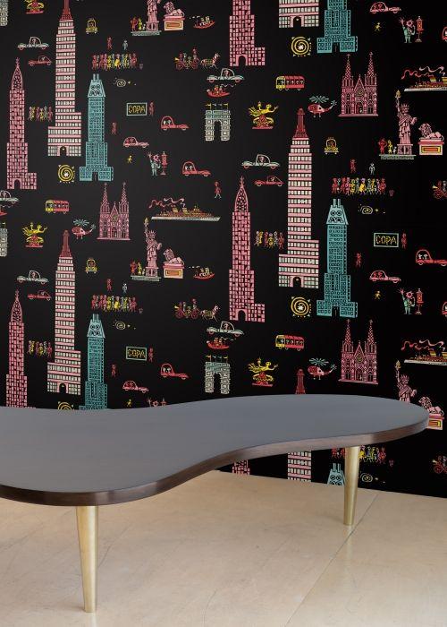 Flora Decor Tile Manhattan Night  Jim Flora Walls  Wallpaper Tiles  Let's