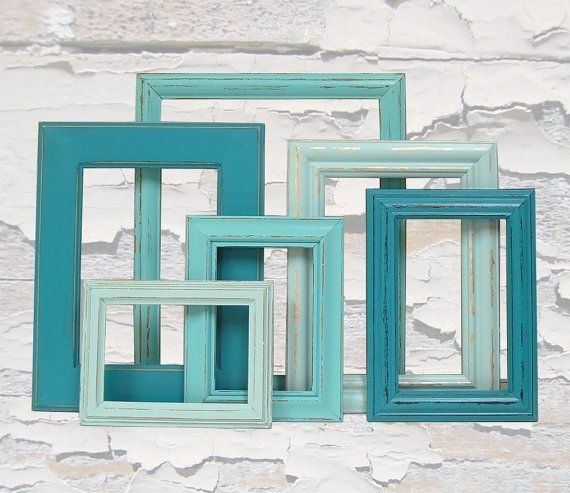 Shabby Chic Frames Picture Frames Picture Frame Set Turquoise Home Decor  Beach Wedding Decor