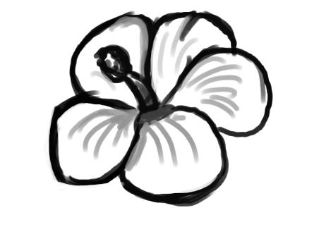 Simple Flowers Outlines Clip Art