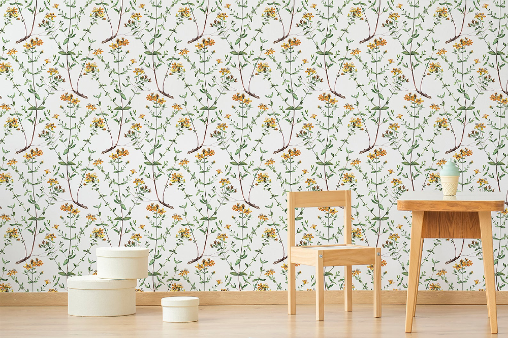 Yellow Flower Peel And Stick Wallpaper Botanical Wallpaper Etsy Peel And Stick Wallpaper Botanical Wallpaper Temporary Wallpaper
