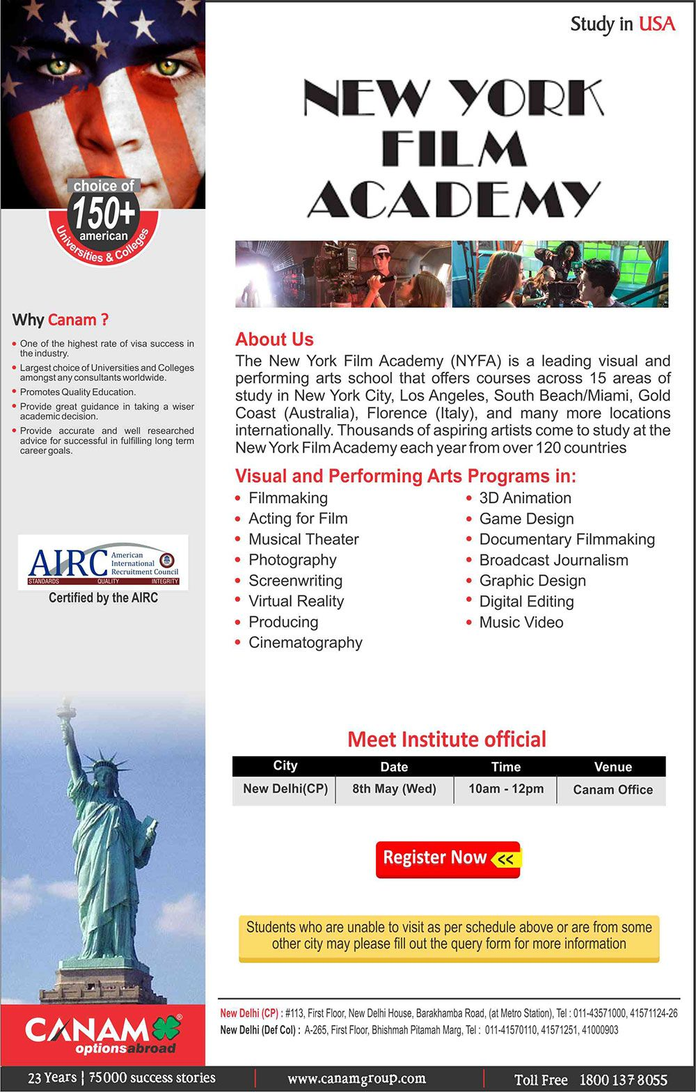 New York Film Academy. For Complete