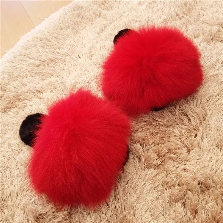 ab66097f8d7 Winter Big Fluffy Plushed Fox Fur Soft Slippers Luxury Big Fur Slippers  Discount