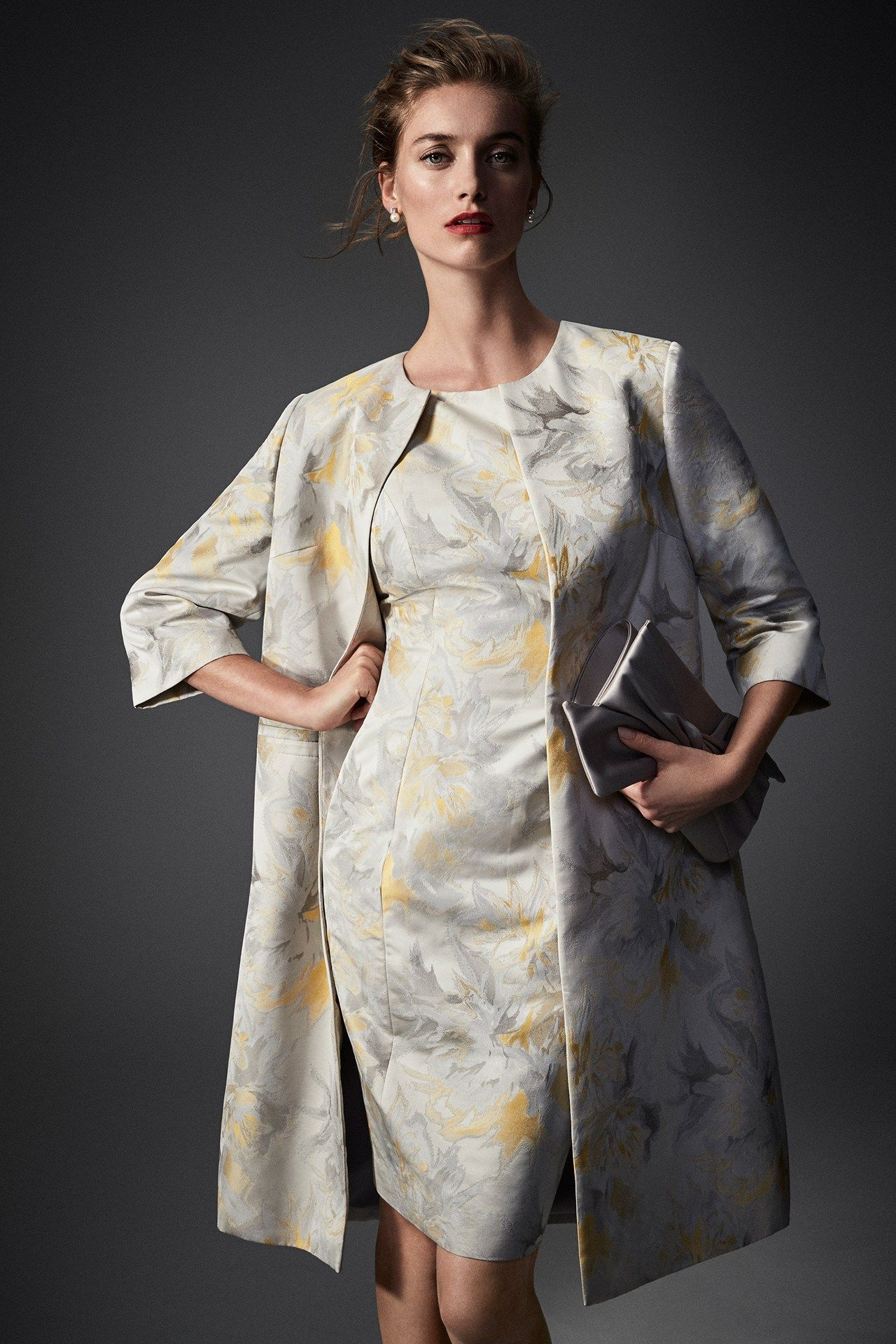 d75e95c9914 Grey and yellow printed mother of the bride dress and dress coat by Bruce  Oldfield at John Lewis
