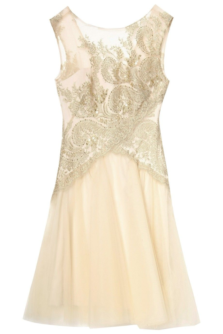 Metallic lace w tulle dress by notte by marchesa