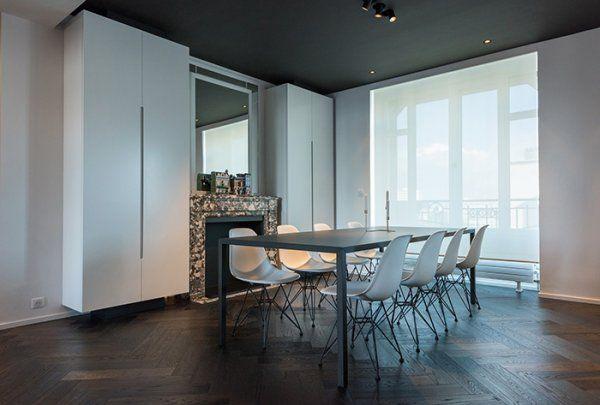 HABITATION   aménagement appartement   noir et blanc   salle à - Salle A Manger Parquet