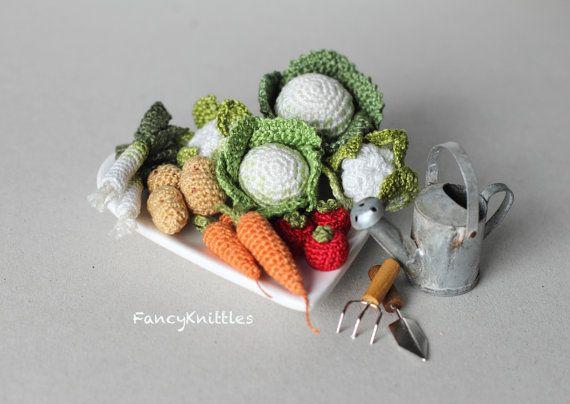 Amigurumi Vegetables : Crochet pineapple stuffed kitchen decor amigurumi food crochet
