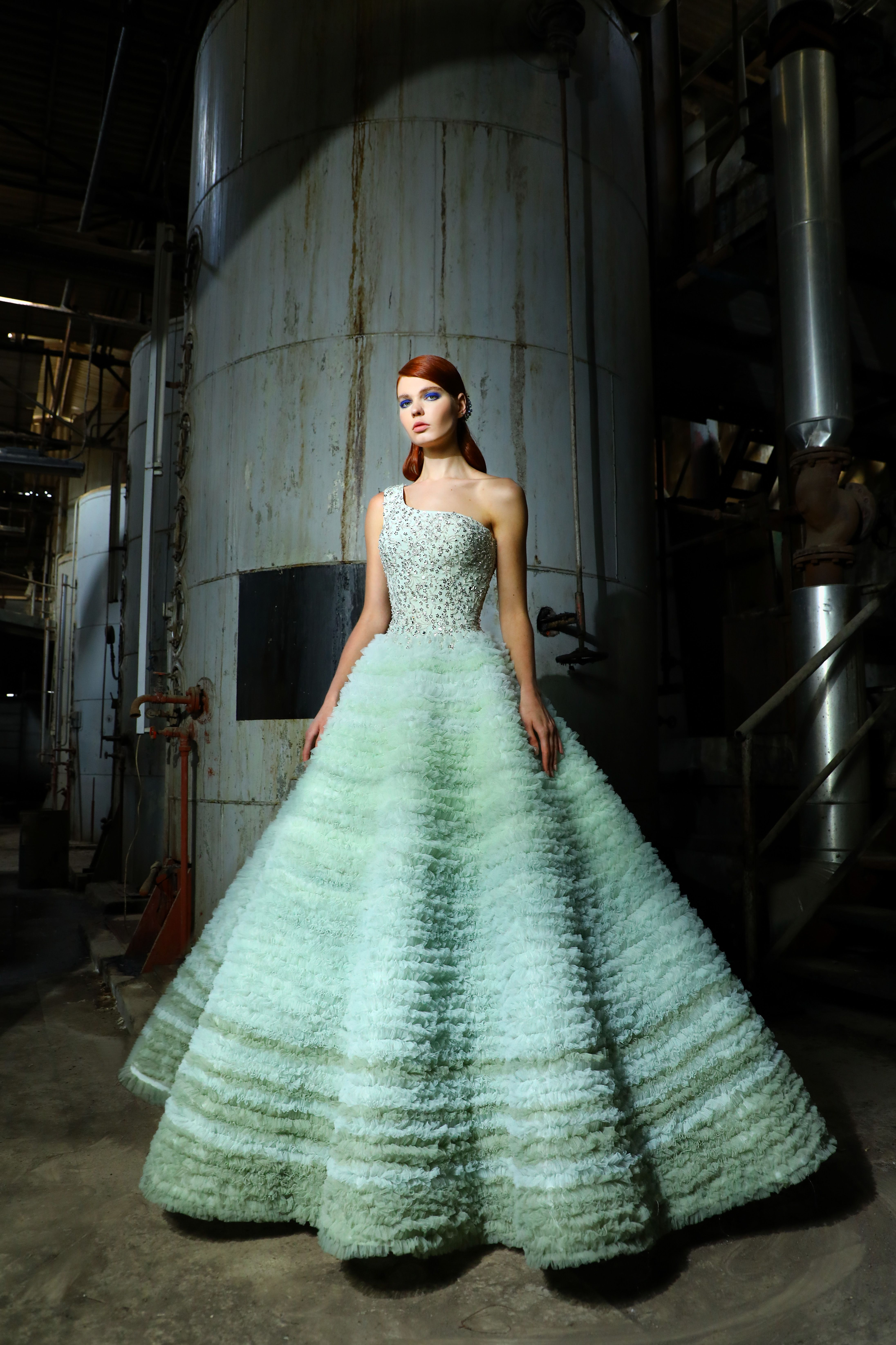 Tiana- Gradient Mint One-Shoulder Tulle Ruffled Ball Gown. Bodice ...