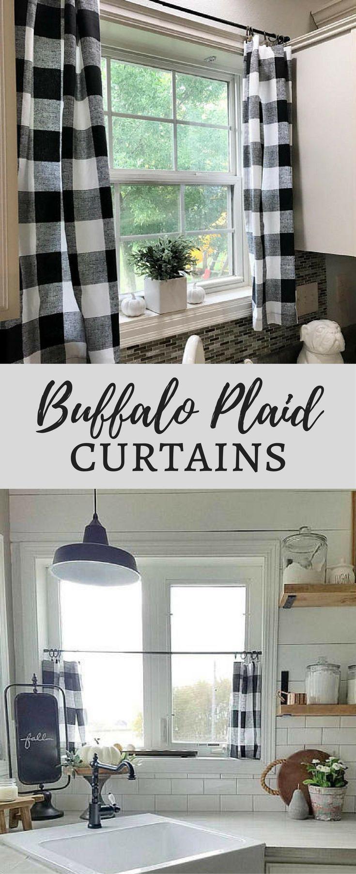 i love these buffalo plaid curtains! plaid cafe curtain, buffalo