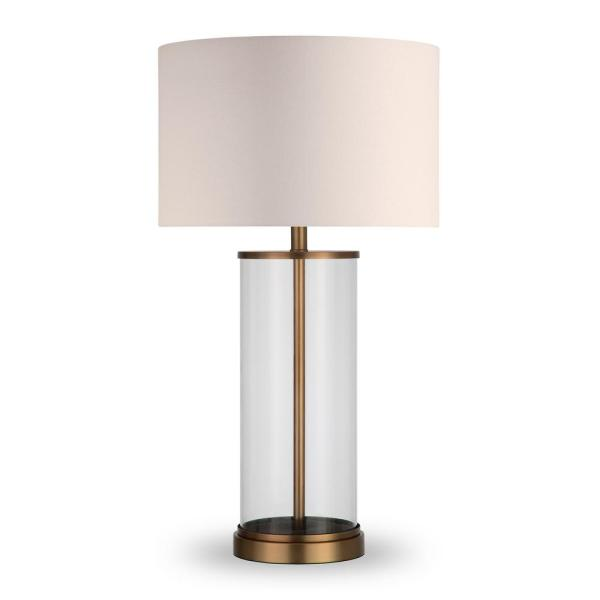 Meyer Cross Rowan 28 In Clear Glass And Antique Brass Table Lamp Tl0026 The Home Depot Brass Table Lamps Table Lamp Lamp