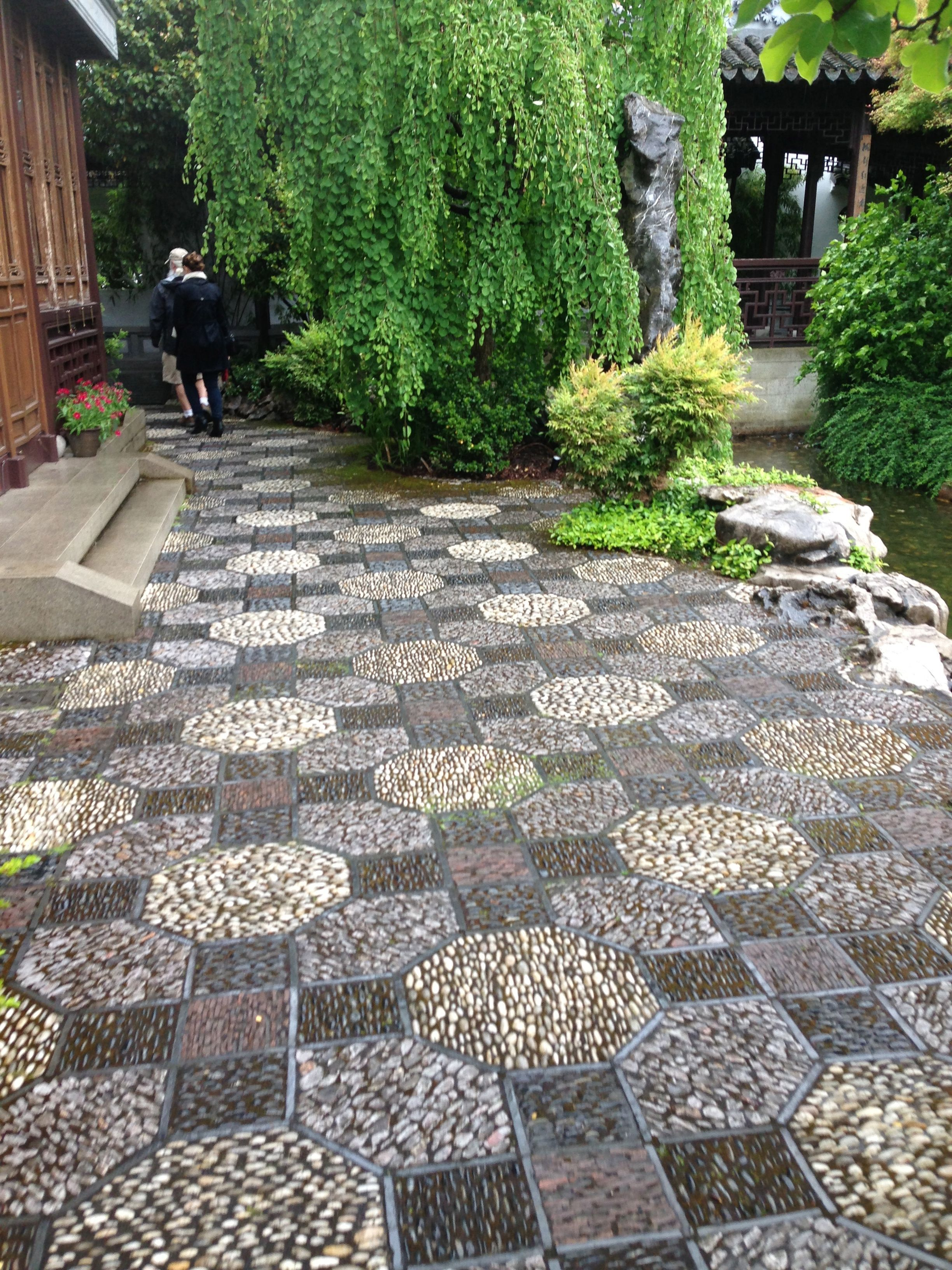 Chinese Garden in Portland has incredible pebble mosaic