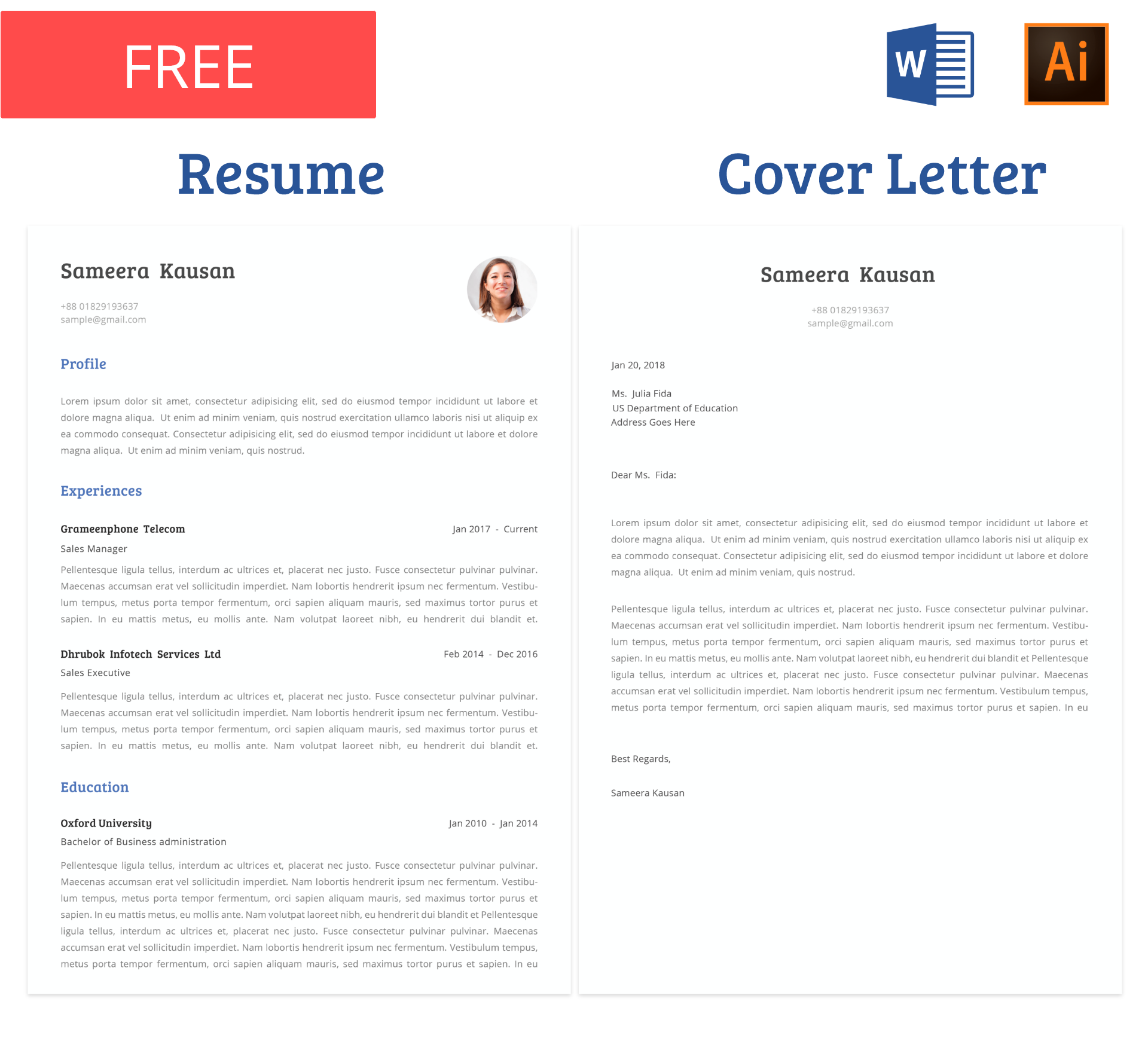 Free Resume template with cover letter. You can edit the