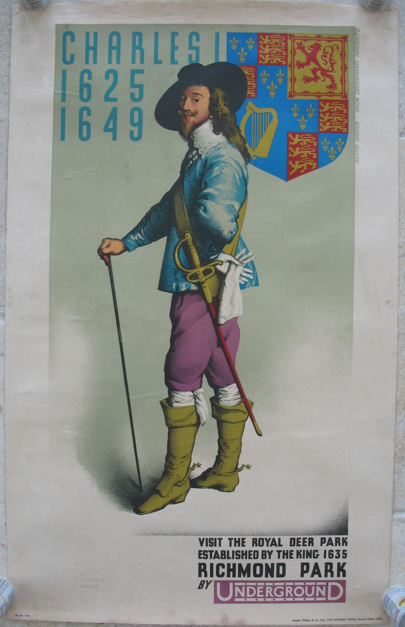 Richmond Park by Underground (Charles I), by Austin Cooper. An Underground (London Transport) poster showing Austin Cooper's vision of King Charles I and his coat of arms, and requesting that we visit the Royal Deer Park at Richmond which was established by the King in 1635. This poster was acquired from a family in Australia who had owned it since 1978, it having already been linen-backed at that time. Original Vintage Railway Poster sold by originalrailwayposters.co.uk