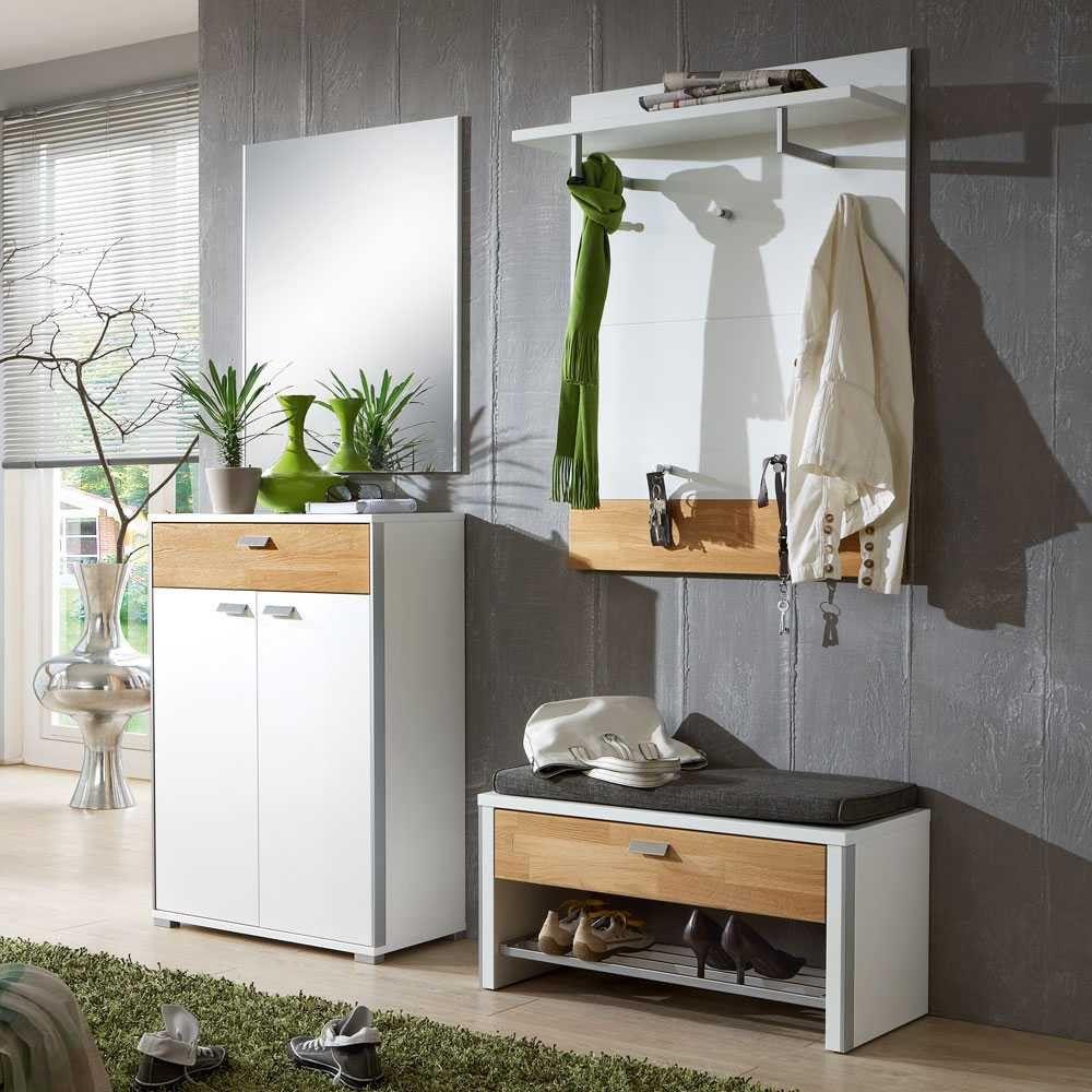 Moderne Garderoben flurmöbel set in weiß mit eiche pharao24 de moderne garderoben