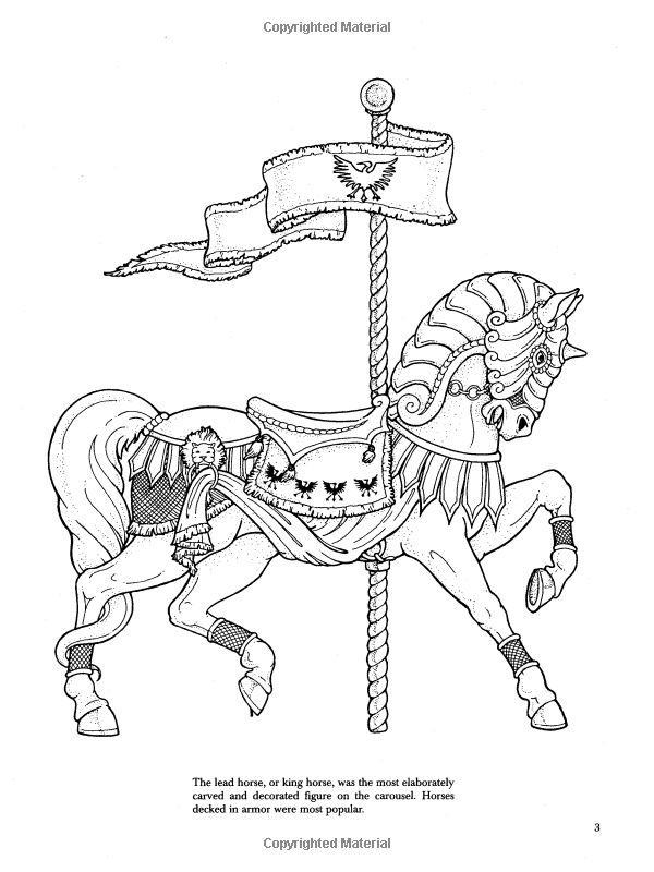 carousel horse coloring pages colouring adult detailed advanced printable