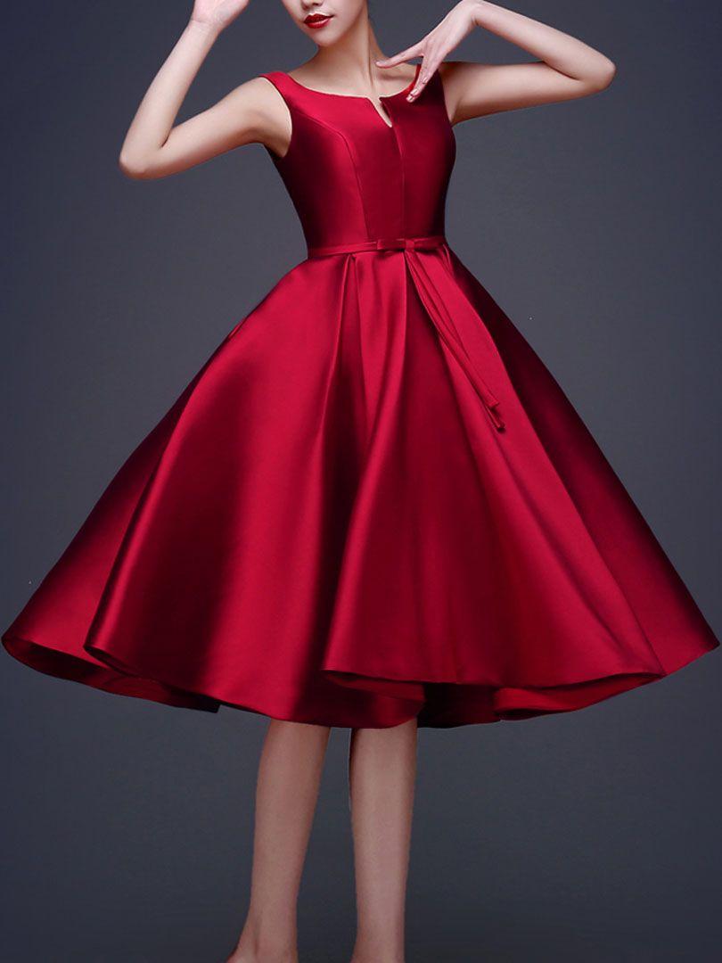 Wine Red Bowknot Waist Lacing Back Sleeveless Midi Prom Dress Choies Vestidos Coctel Vestido De Baile Prendas Elegantes