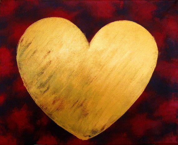 canvas art Original I love you heart love true by wrightsonarts   My ...