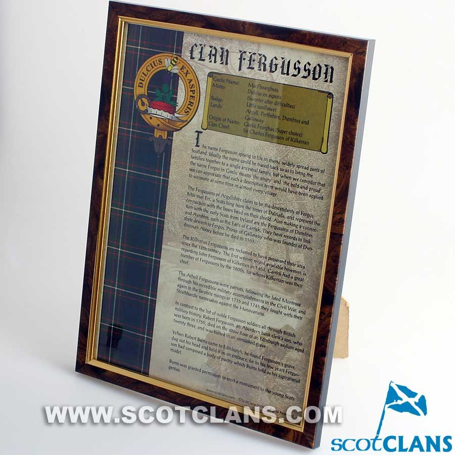 Clan Ferguson Framed History Print | Clan Ferguson Products ...