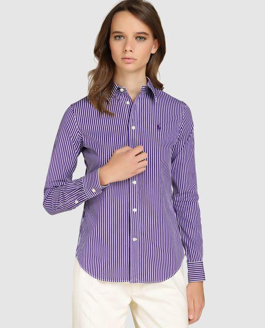 f749bb8fd6f97 Camisa de mujer Polo Ralph Lauren con estampado mil rayas
