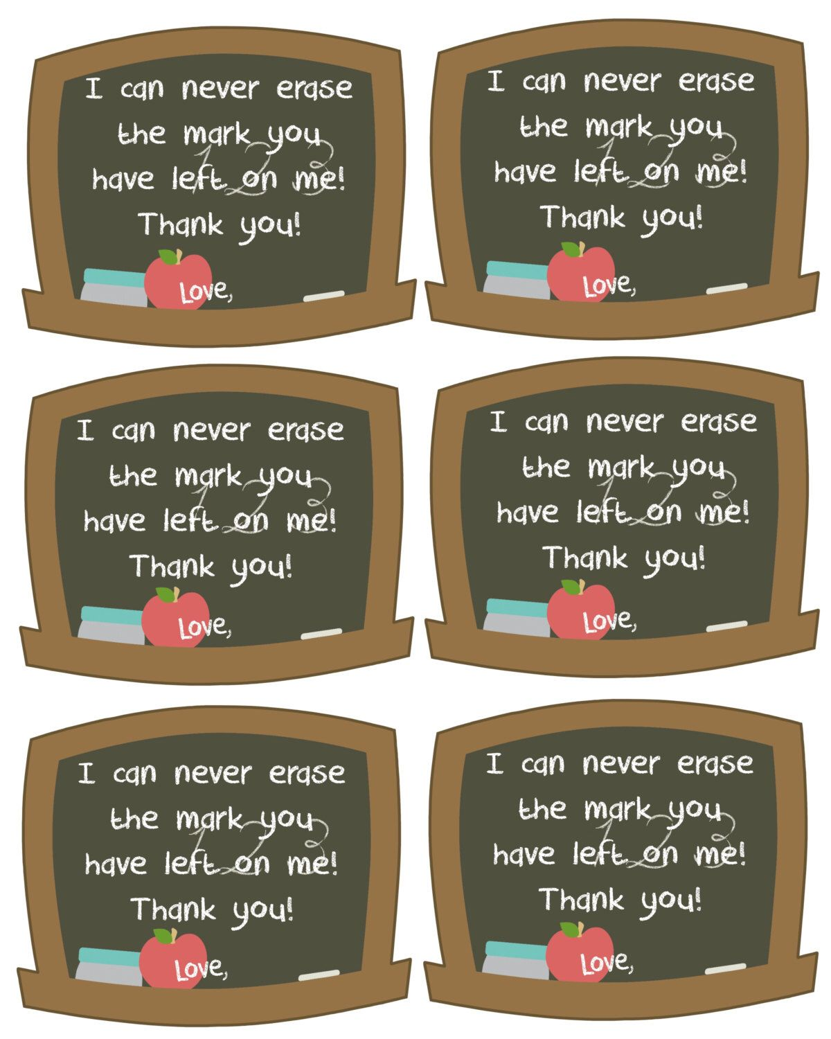 Teacher appreciation gift tag so lucky to bee your student teacher appreciation gift tags i can never erase the mark you have left on me xflitez Images