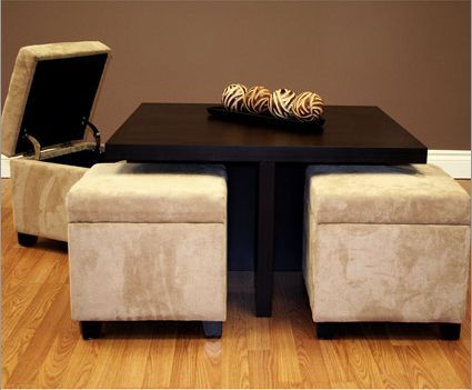Small Coffee Table With 4 Integrated Ottomans Coffee Table Coffee Table With Seating Storage Ottoman Coffee Table