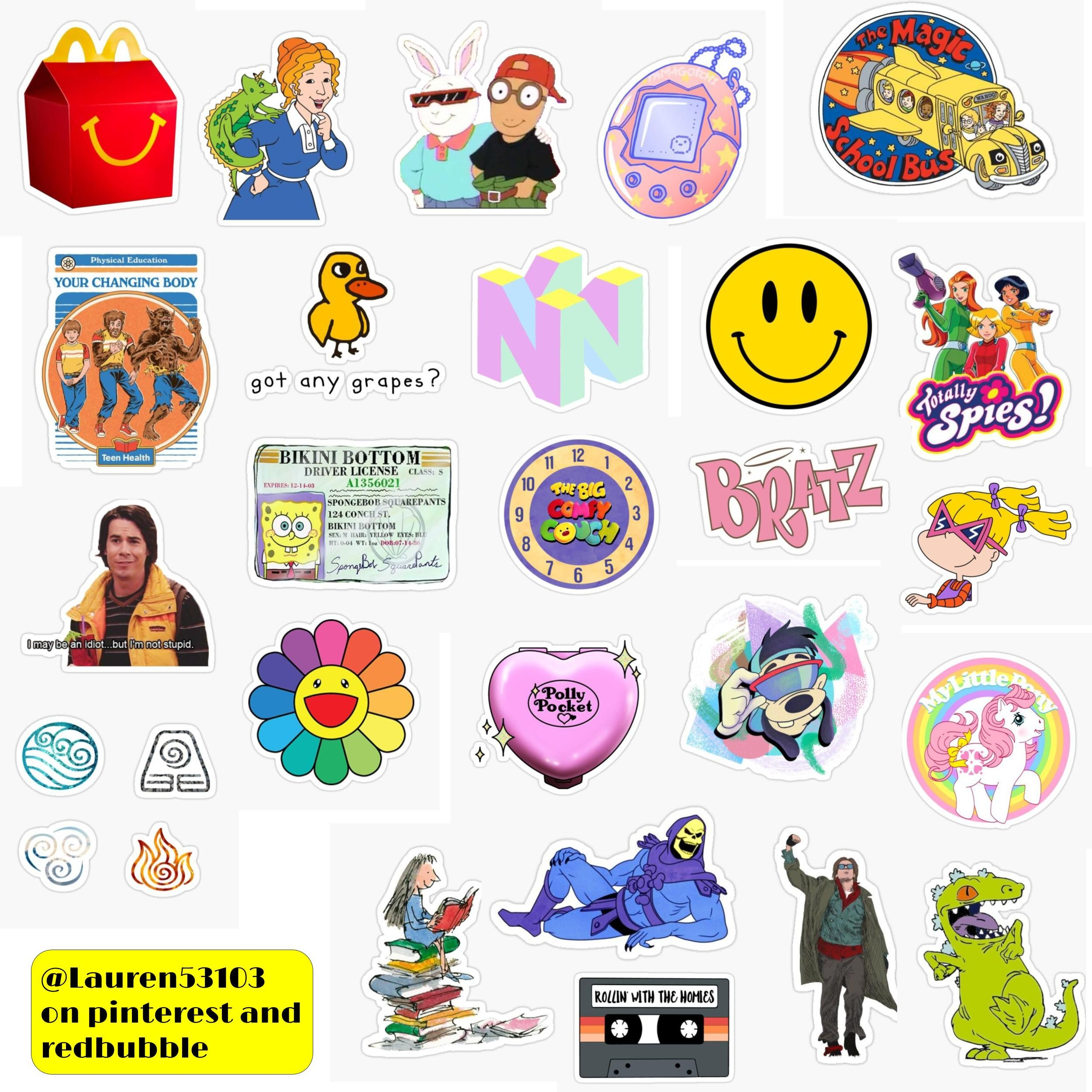 Nostalgia Sticker Pack Sticker By Lauren53103 In 2020 Print Stickers Aesthetic Stickers Indie Drawings