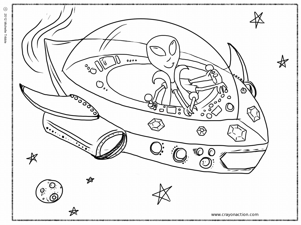 space ship colouring page. books. spaceship rocket birthday party ...
