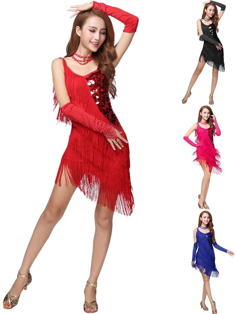 139e9fa99 Women s Latin Dance Costume Sequins Dress Tassel Fringe Salsa Samba Rumba  Tango