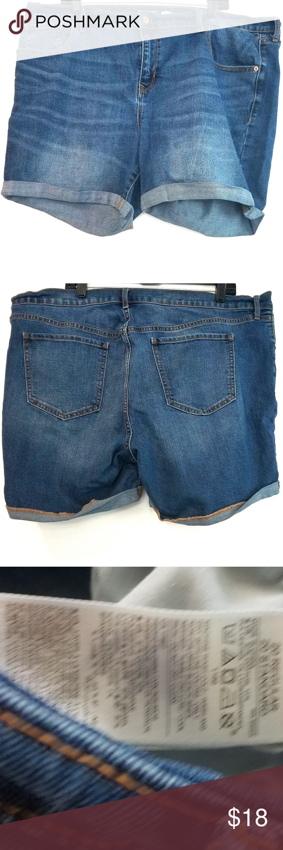 11d909bc38f 20 Old Navy Fitted Stretch Denim Jean Shorts These size 20 Old Navy Fitted  Stretch Denim Jean Shorts are in good used condition. Waist measures 22
