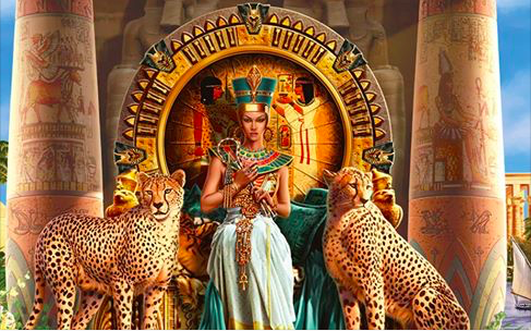 egyptian queen with leopards