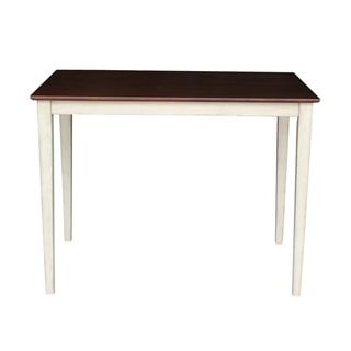 White and Espresso Solid Wood Butcher Block Top Shaker Leg Table