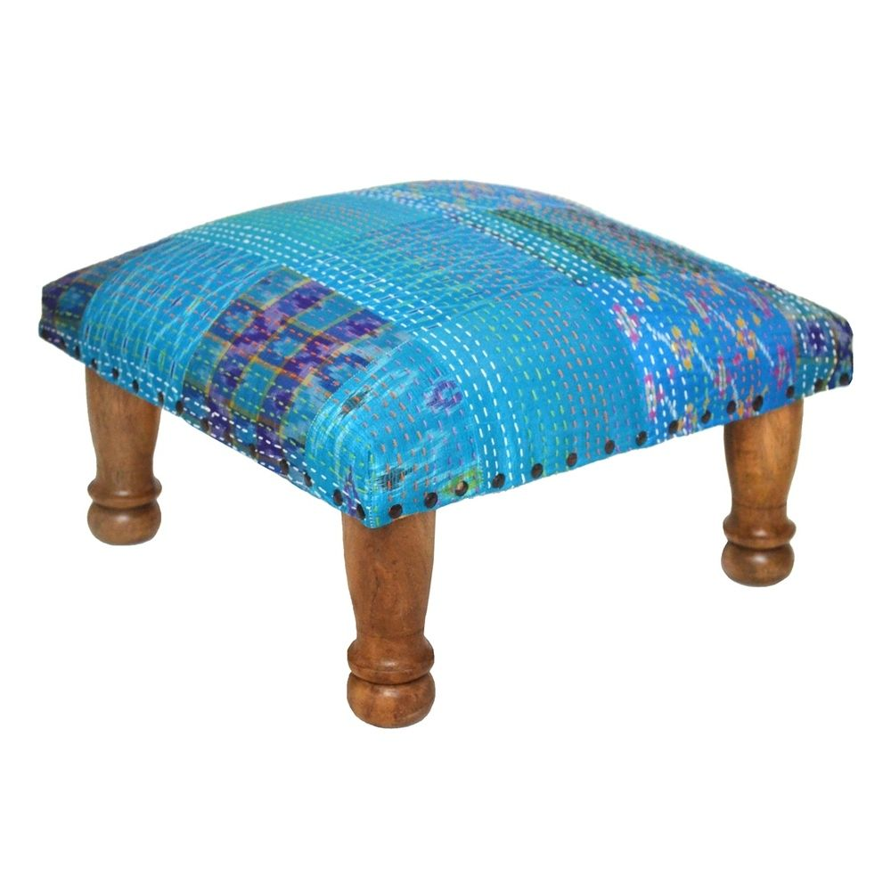 Handmade Blue Kantha Stitched Ikat Footstool (India) - Overstock ...