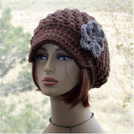 Newsboy Hat Womens Slouchy Hat Crochet Chunky Brim Hat chocolate hat ...
