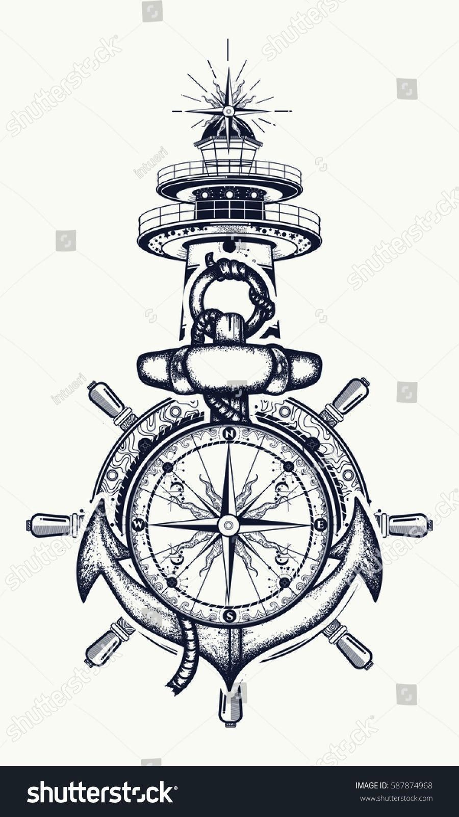 steering wheel, compass, lighthouse, tattoo art. Icon stock vector (royalty free) 587874968 - Anch