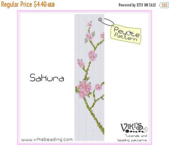 30% off SALE Sakura - Peyote Pattern for cuff bracelet - INSTANT DOWNLOAD pdf - Multibuy savings with coupon codes