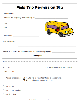 It's just a photo of Effortless Printable Permission Slips for Field Trips