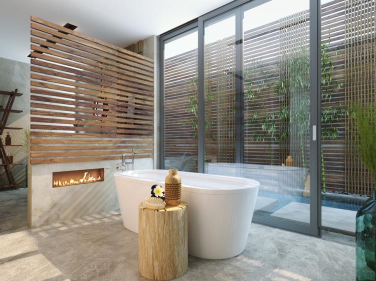 Hochwertig Luxus Badezimmer Trennwand Holz Grosse Badewanne Porzellan Kamin